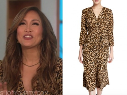 carrie ann inaba, the talk, leopard v-neck dress