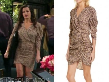 the young and the restless, chelsea newman, melissa claire egan, floral ruched dress