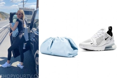 E! news, morgan stewart, blue bag, sneakers, sunglasses