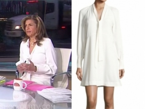 the today show, hoda kotb, ivory tie neck dress