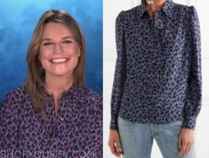 savannah guthrie, purple leopard blouse, the today show