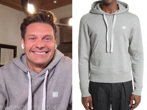 ryan seacrest, grey hoodie, live with kelly and ryan