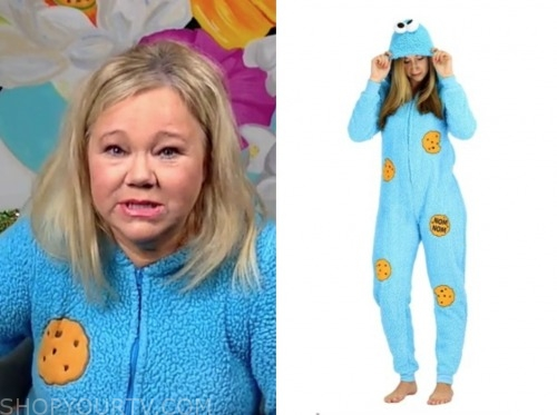 caroline rhea, blue cookie monster onesie, live with kelly and ryan