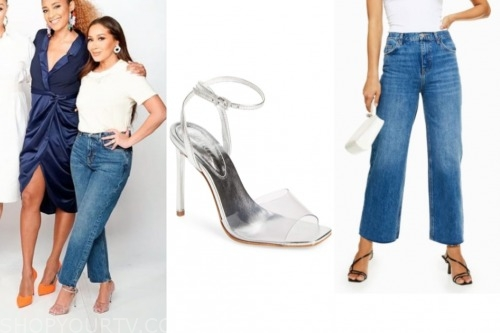 the real, adrienne bailon, jeans, vinyl heels