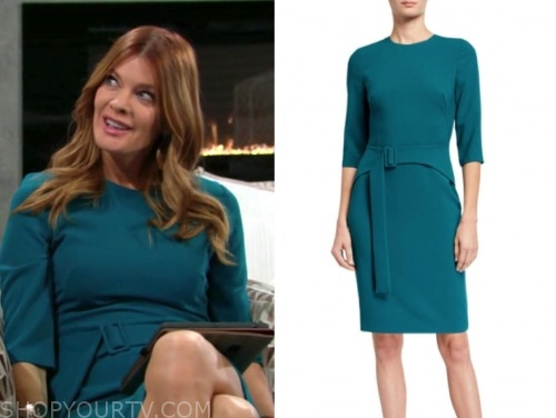michelle stafford, phyllis newman, the young and the restless, teal belted sheath dress