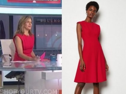 hoda kotb, the today show, red flare dress