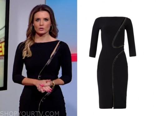 fox and friends, jillian mele, black asymmetric zipper dress