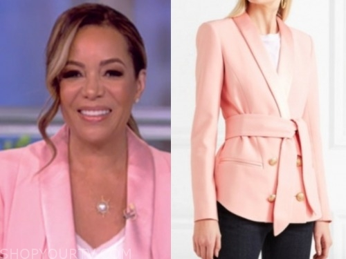 sunny hostin, the view, blush pink jacket