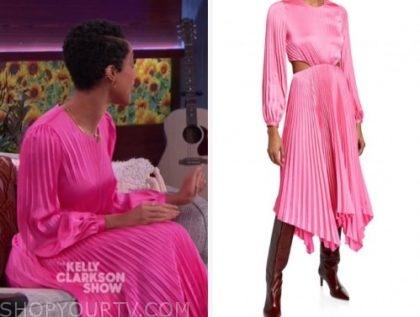tiffany boone, the kelly clarkson show, pink pleated cutout midi dress