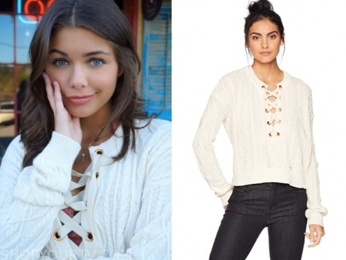 hannah ann sluss, ivory lace up sweater, the bachelor