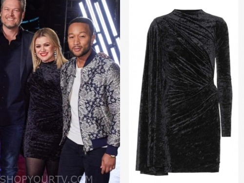 kelly clarkson, the voice, black velvet dress