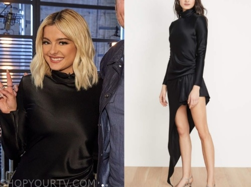 bebe rexha, the voice, black satin asymmetric dress