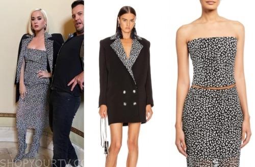 katy perry, black blazer, black strapless top, american idol