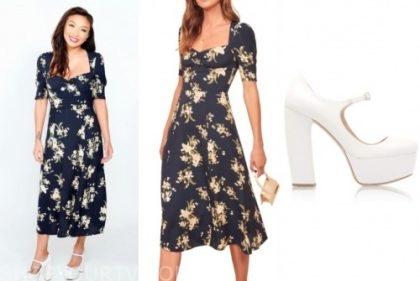 the real, jeannie mai, floral midi dress, white mary jane heels