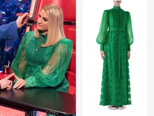 meghan trainor, green dress, the voice uk
