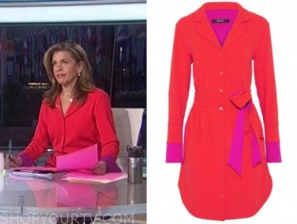 hoda kotb, the today show, red and pink shirt dress