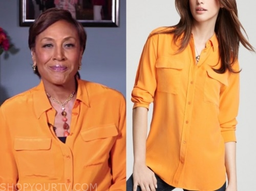robin roberts, orange blouse, good morning america