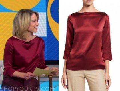 amy robach, good morning america, burgundy satin boatneck blouse