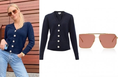 morgan stewart, E! news, navy sweater, sunglasses