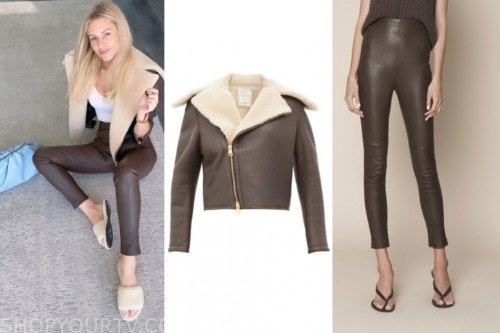 morgan stewart, E! news, brown shearling jacket, brown leather leggings