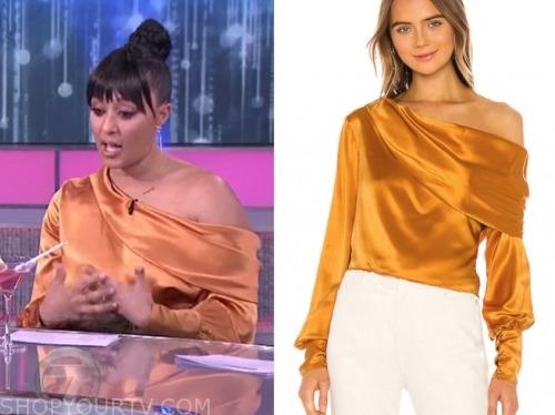 the real, tamera mowry, orange satin blouse