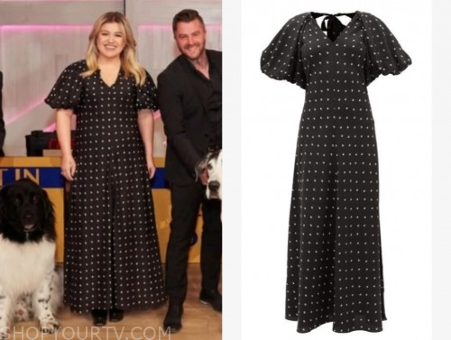 kelly clarkson, the kelly clarkson show, black and white polka dot midi dress