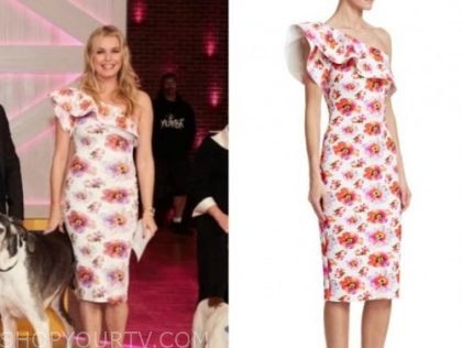 the kelly clarkson show, rebecca romijn, white floral one-shoulder ruffle dress