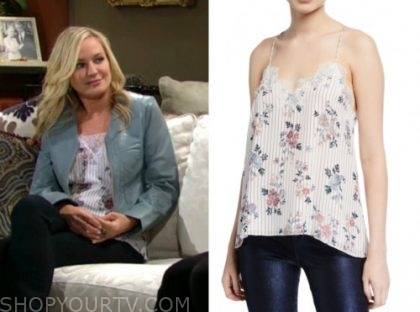 sharon newman, sharon case, floral stripe camisole, the young and the restless