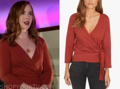 the young and the restless, rust wrap top, mariah copeland, camryn grimes
