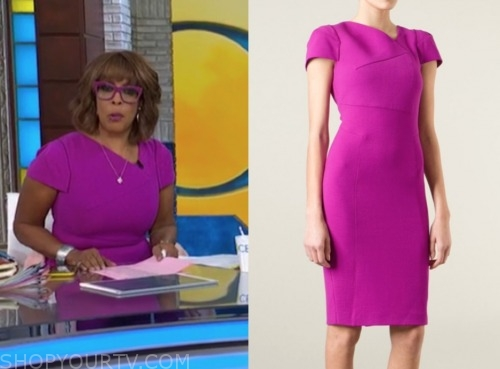 gayle king, cbs this morning, purple sheath dress