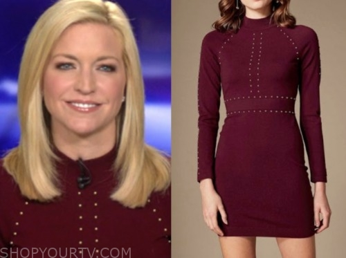 ainsley earhardt, burgundy studded dress, fox and friends