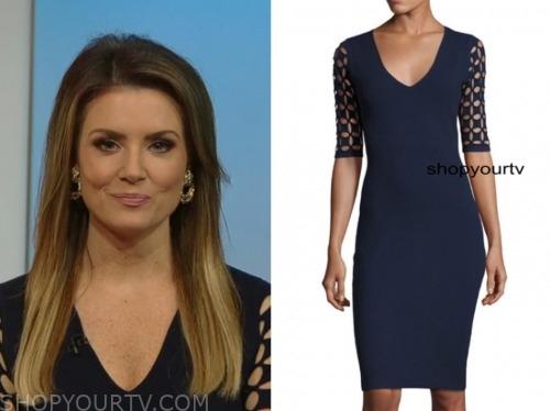 jillian mele, fox and friends, navy blue laser cutout dress
