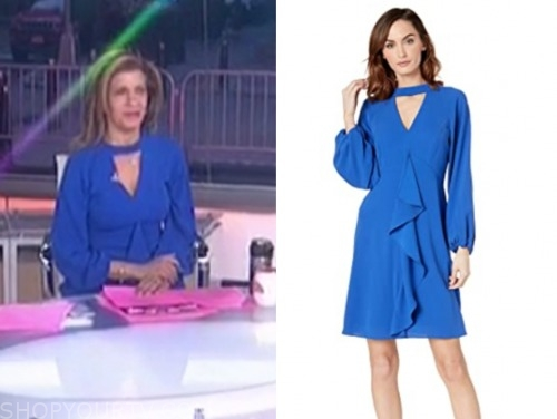 the today show, hoda kotb, blue keyhole ruffle dress