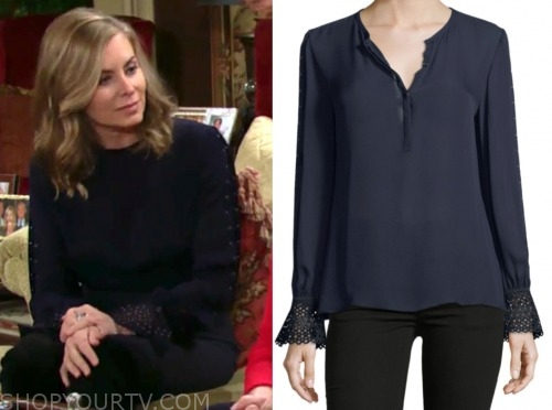 ashley abbott, eileen davidson, navy blouse, the young and the restless