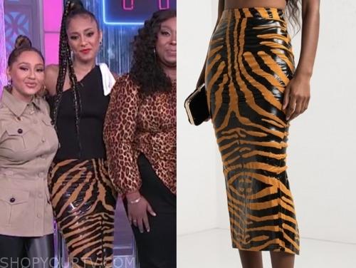 the real, amanda seales, tiger print pencil skirt
