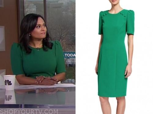 the today show, green sheath dress, kristen welker