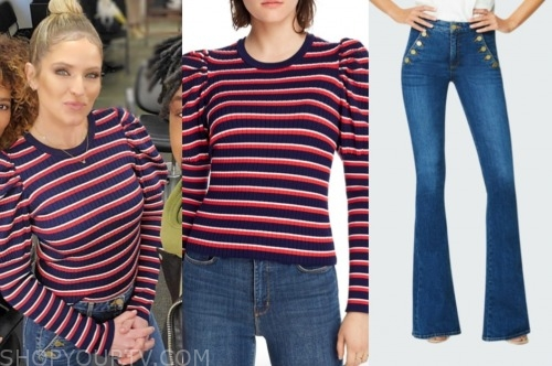 sara haines, the view, striped sweater, sailor jeans