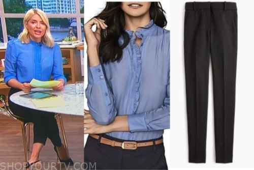 holly willoughby, this morning, blue blouse, black pants