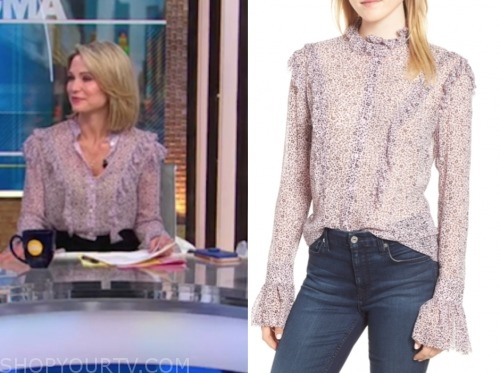 amy robach, purple floral ruffle blouse, gma