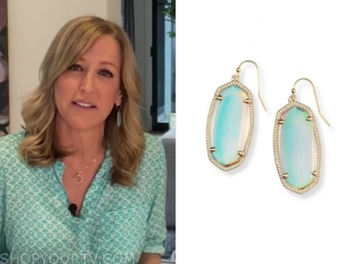 lara spencer, good morning america, oval stone drop earrings