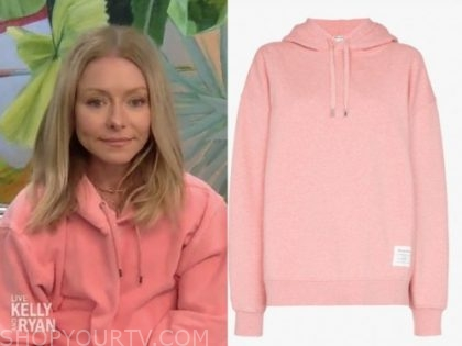 kelly ripa, pink hoodie, live with kelly and ryan