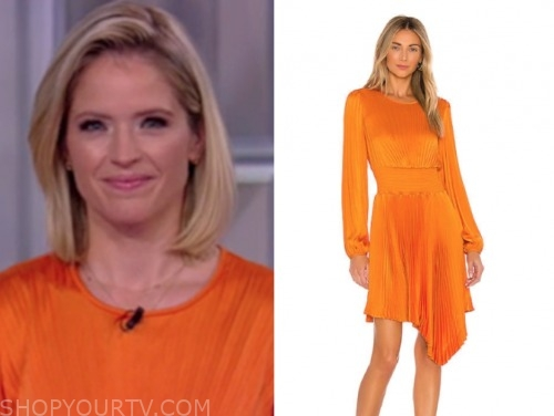 sara haines, orange pleated dress, the view