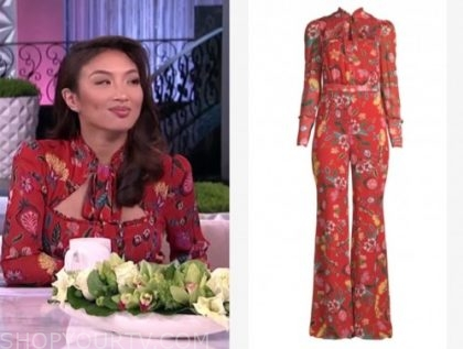 jeannie mai, the real, red floral jumpsuit