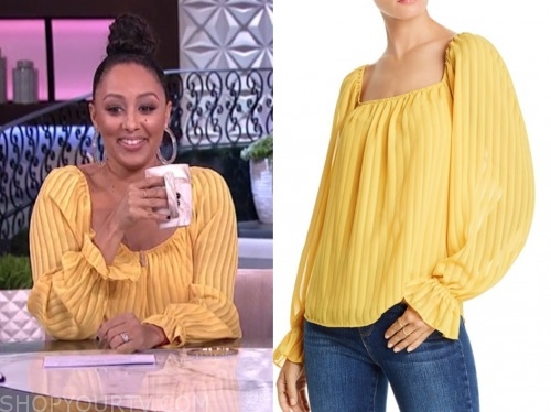 the real, tamera mowry, yellow stripe blouse