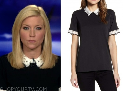 fox and friends, ainsley earhardt, black and white lace collar top