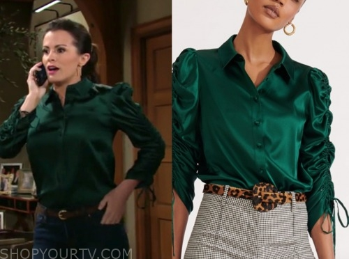 chelsea newman, melissa claire egan, green satin blouse, the young and the restless