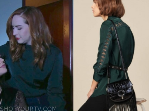 mariah copeland, camryn grimes, the young and the restless, green lace sleeve blouse