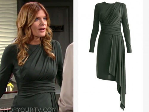 michelle stafford, the young and the restless, green ruched long sleeve drape dress