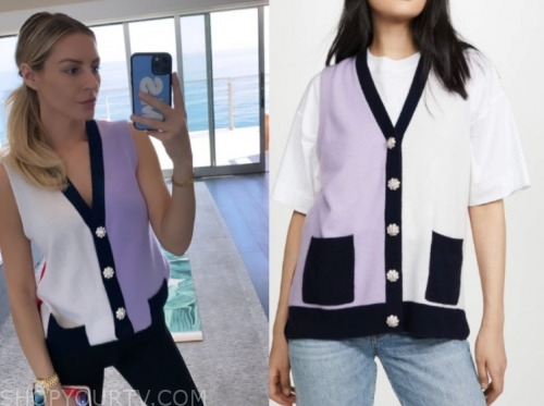 morgan stewart, E! news, colorblock knit vest