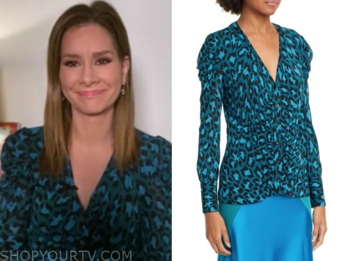 rebecca jarvis, good morning america, green leopard top